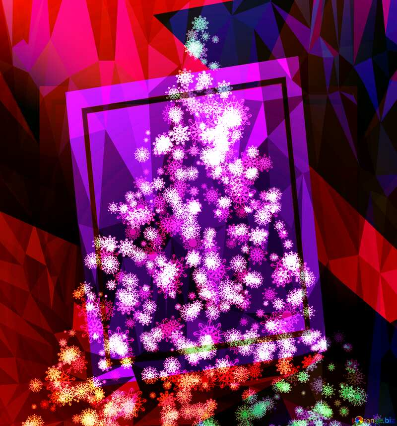 Clipart Christmas tree of snowflakes frame template Polygon abstract geometrical background with triangles №40736
