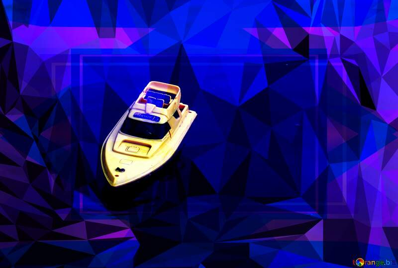 Boat Children on the water Polygon abstract geometrical background with triangles №1983