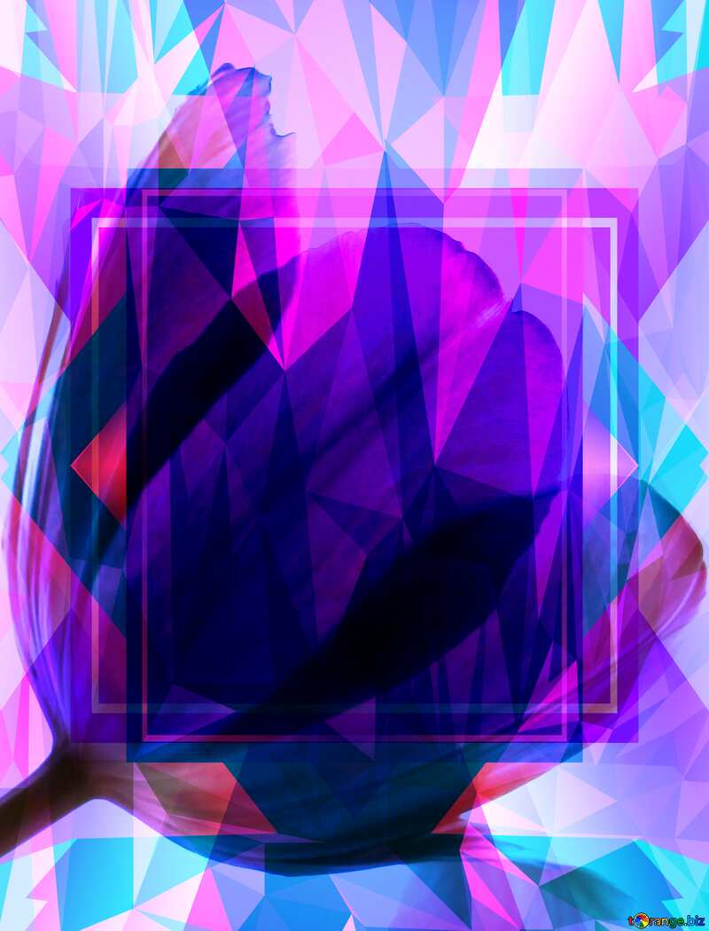 Tulips pink Frame Template Polygon abstract geometrical background with triangles №881