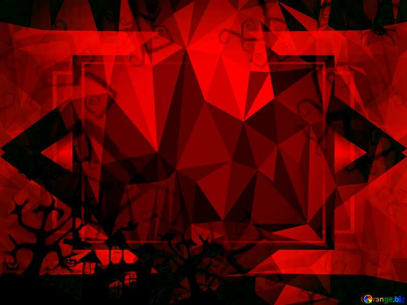 Halloween template dark red Polygon abstract geometrical background with triangles №40594