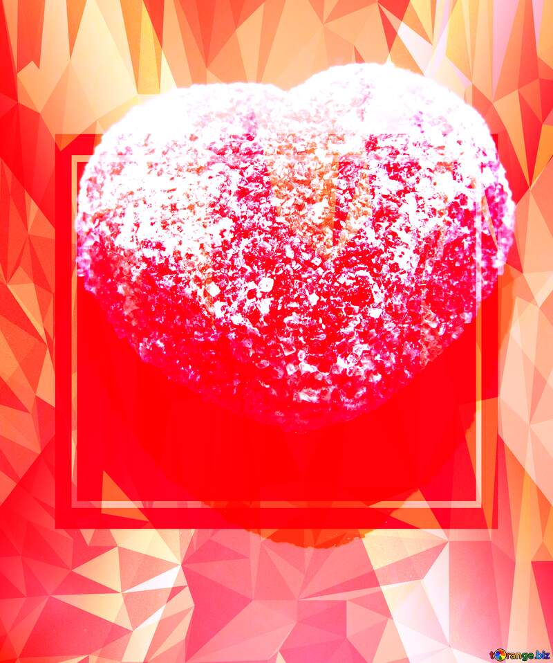 Red heart on black background Polygonal abstract geometrical background with triangles №18523
