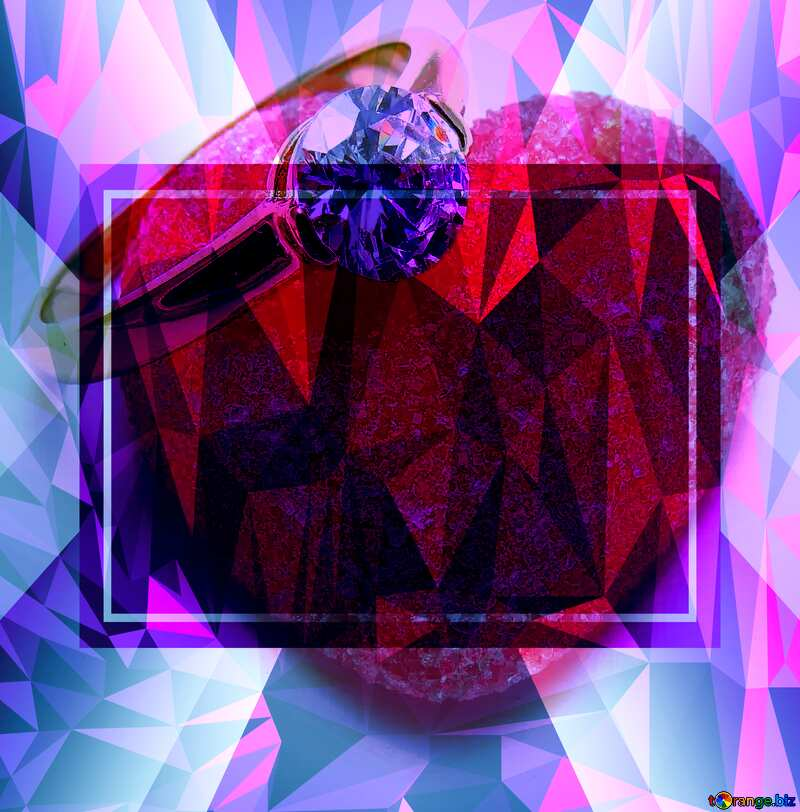 Love Frame Template Polygonal abstract geometrical background with triangles №18534