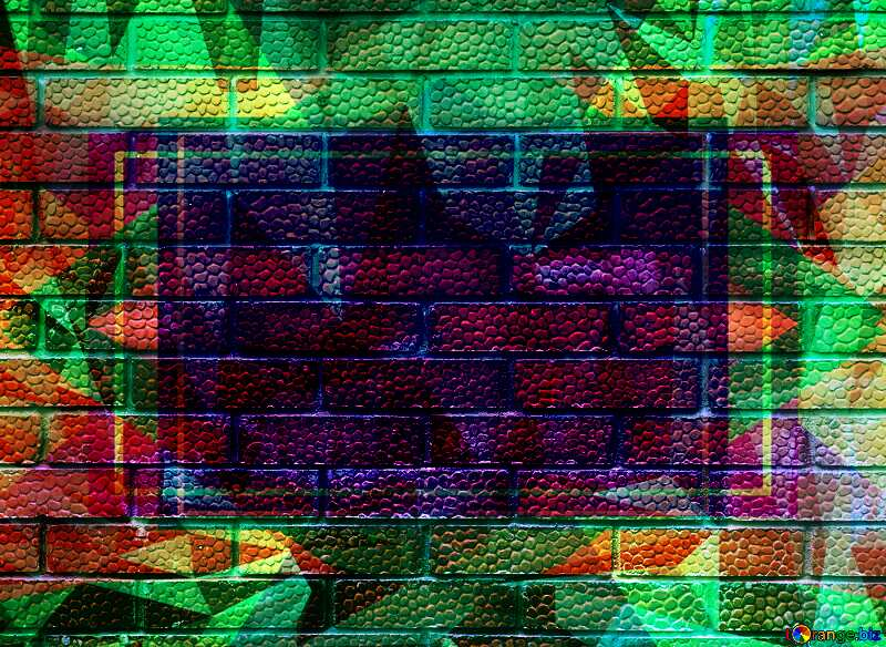 Efflorescence on the red texture bricks.Texture Polygon abstract geometrical background with triangles №5326