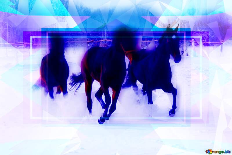 Three horses in the snow Polygon abstract geometrical background with triangles №3981