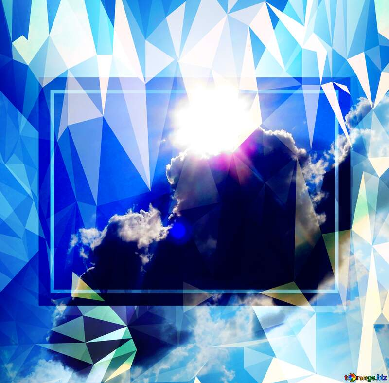 Sun Sky Clouds Template Polygonal abstract geometrical background with triangles №27344