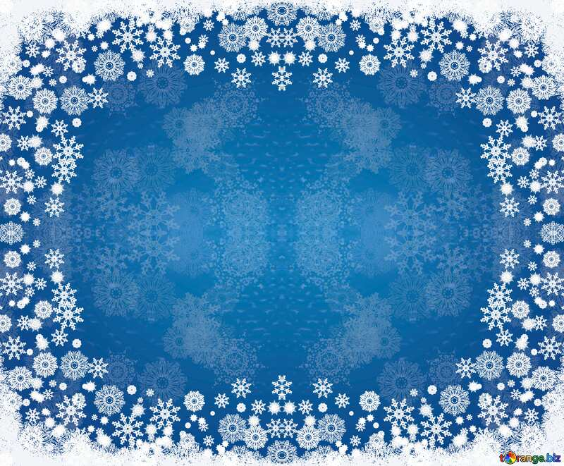 Blue background for Christmas and new year cards frame pattern №40657