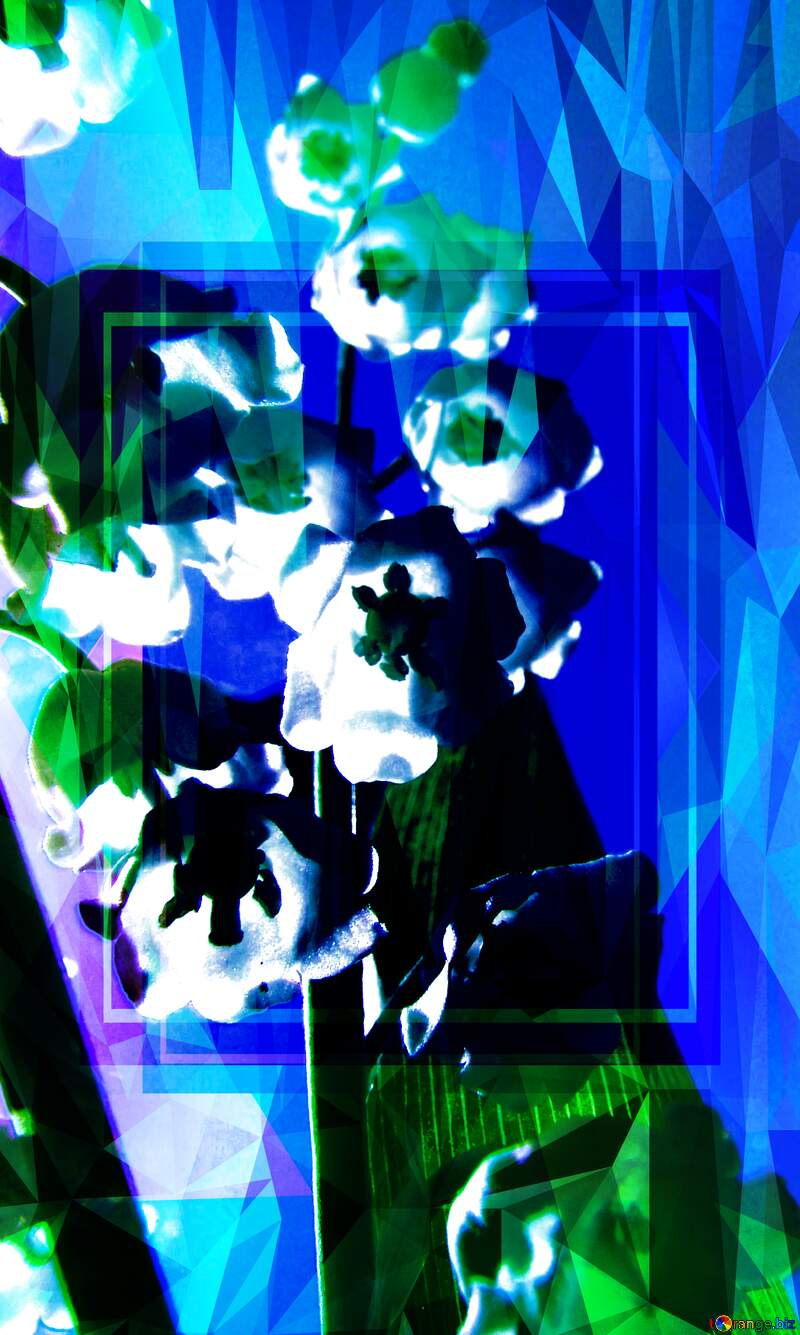 Flowers lily Polygon abstract geometrical background with triangles Blue Frame Template №5266