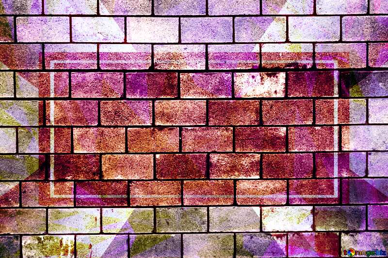 Brick wall Polygonal abstract geometrical background with triangles Template №13958