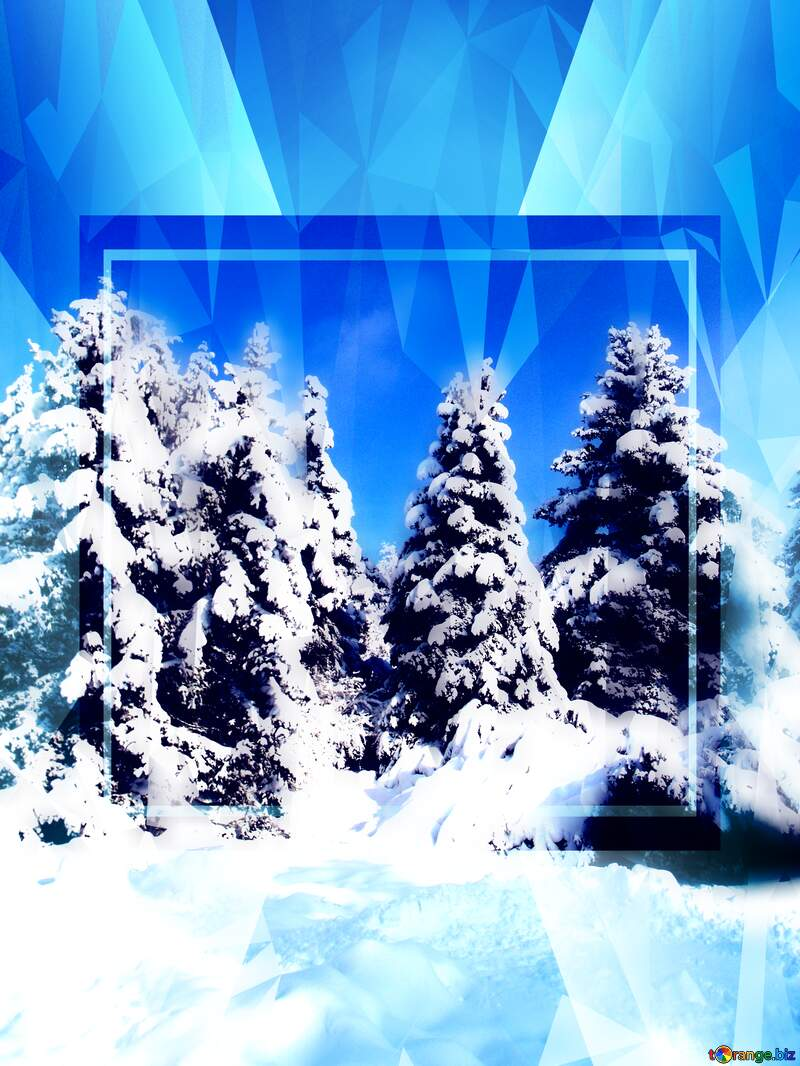 Tree Snow sun Polygonal abstract geometrical background with triangles Winter Template №10576