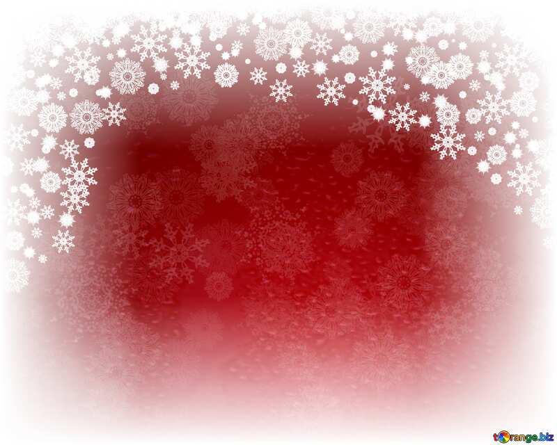 Red Christmas background white frame around edge №40659