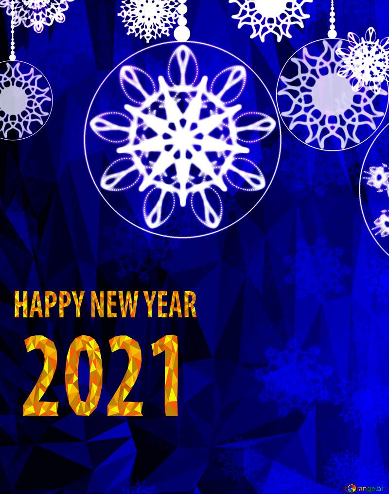 happy new year 2021 Clipart Polygonal abstract geometrical background with triangles Christmas №40711