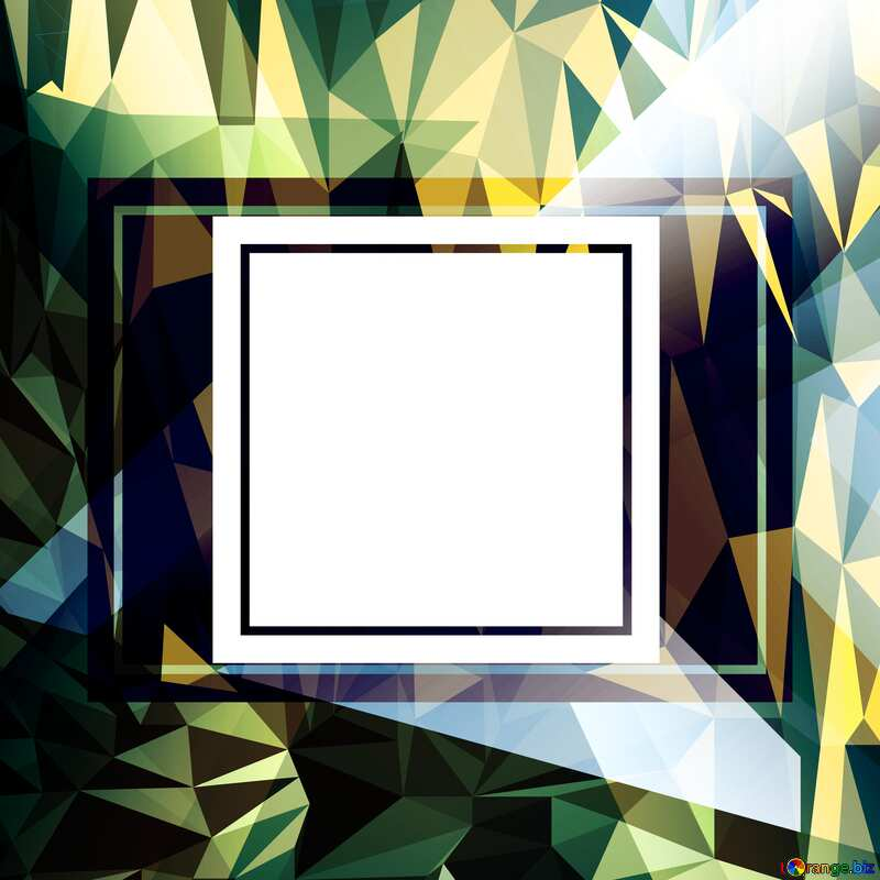 template frame blue Polygonal abstract geometrical background with triangles №49675