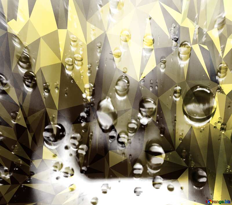 Raindrops macro Polygonal abstract geometrical background with triangles №47981