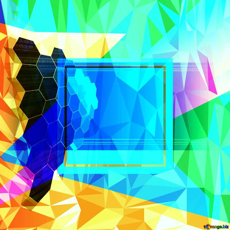 technology Template Polygonal abstract geometrical background with triangles №49674
