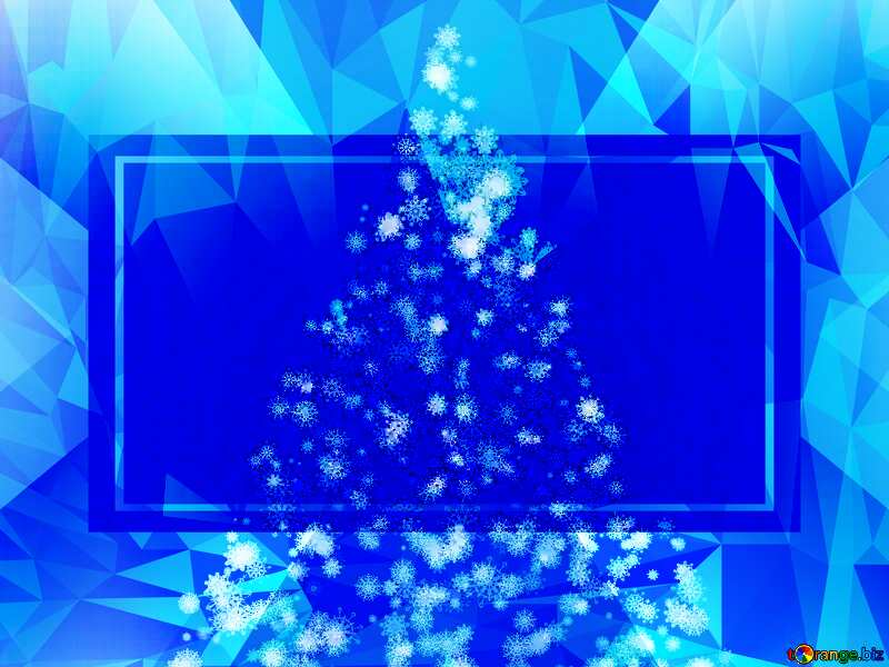 Christmas tree of snowflakes Polygonal abstract geometrical background with triangles ice Template №40661