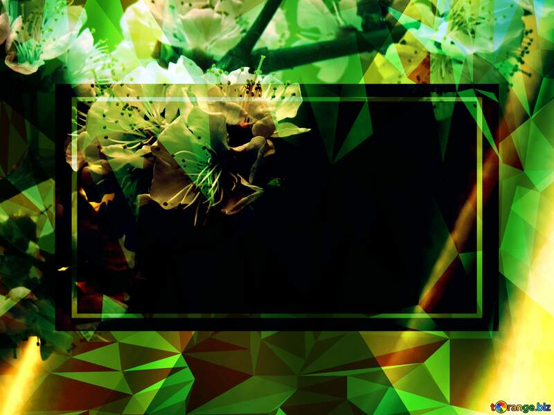 Spring flowering tree Polygonal abstract geometrical background with triangles Template №29950