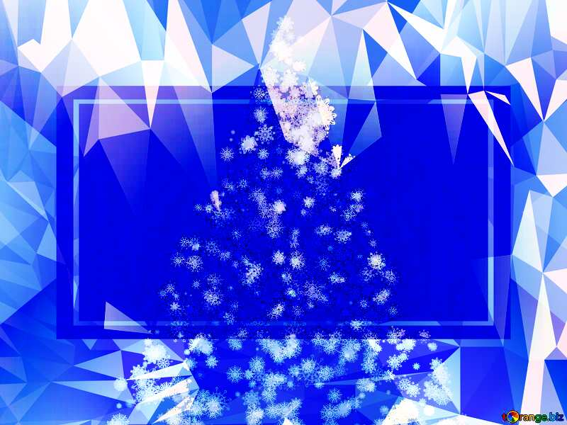 Christmas tree of snowflakes Polygonal abstract geometrical background with triangles Template №40661