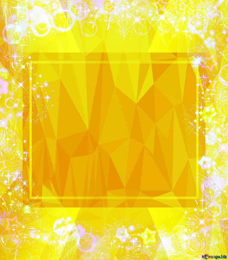 Polygonal abstract geometrical background with triangles Frame multi-colored Yellow Template №39964