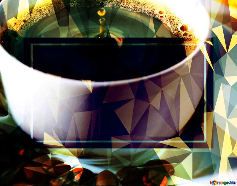 A drop of coffee Polygonal abstract geometrical background with triangles №30848
