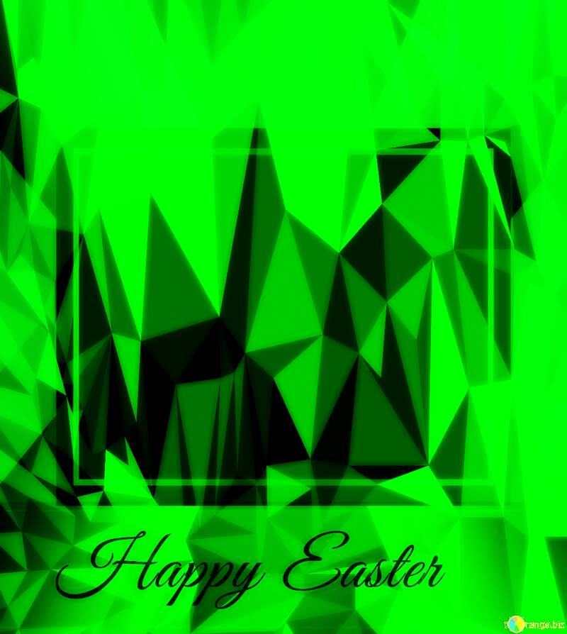 green Easter Design Frame Template Polygonal abstract geometrical background with triangles №49668