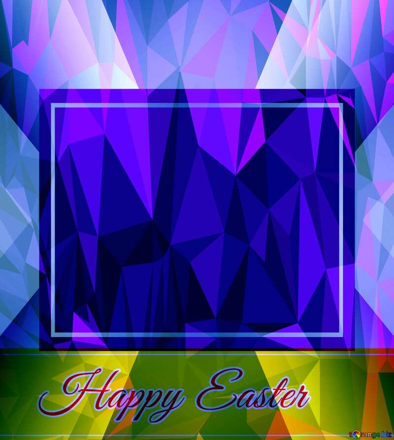 Happy Easter Template Frame Design Polygonal abstract geometrical background with triangles №49668