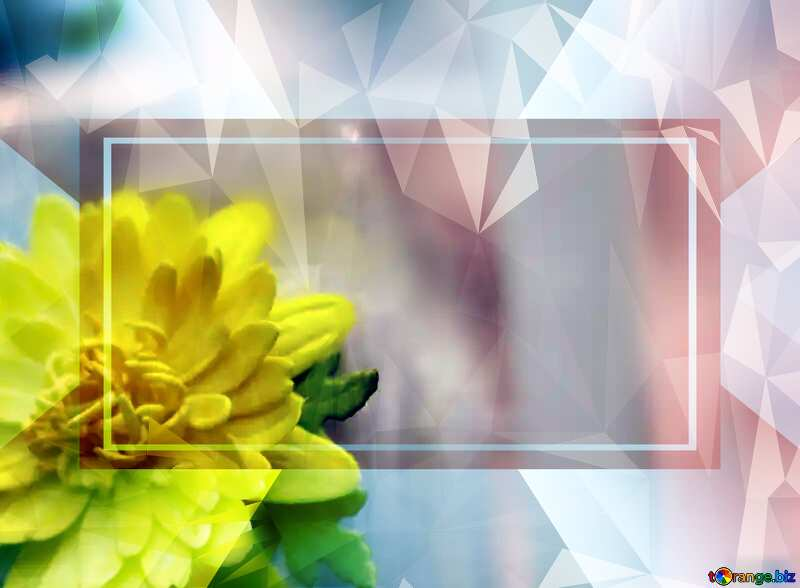 Yellow flower Template Frame Polygonal abstract geometrical background with triangles №48635