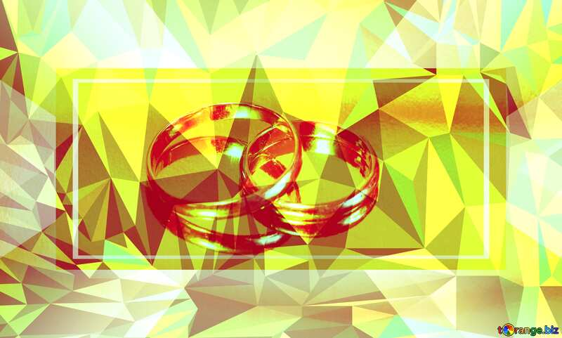 Engagement gold ring. Wedding template Polygonal abstract geometrical background with triangles №7143