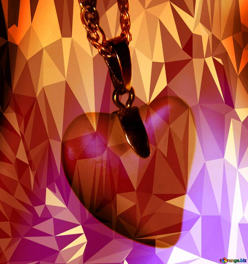 Faithful Heart Valentine`s Day Polygonal abstract geometrical background with triangles №3595