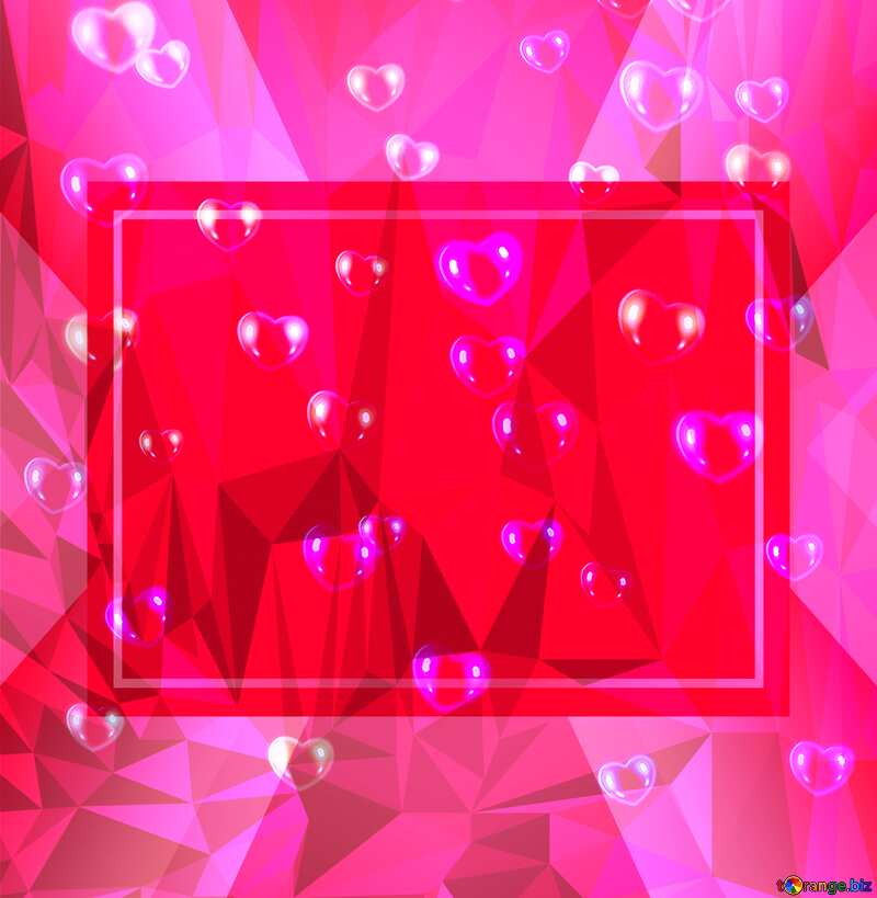 red hearts Template pink Polygonal abstract geometrical background with triangles №39946