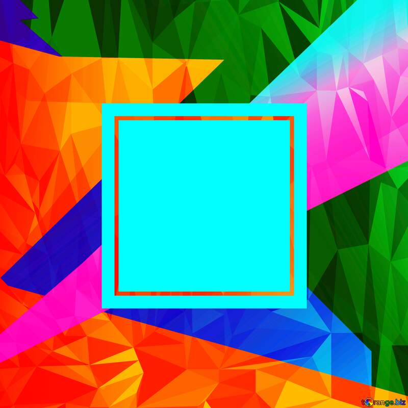 Colorful illustration template frame Polygonal abstract geometrical background with triangles blank template №49675