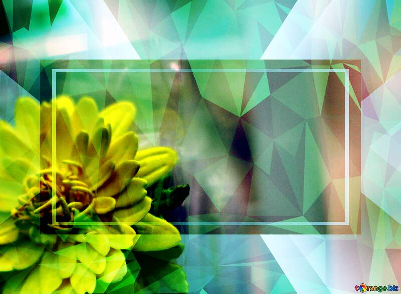 Yellow flower Polygonal abstract geometrical background with triangles green Template Frame №48635