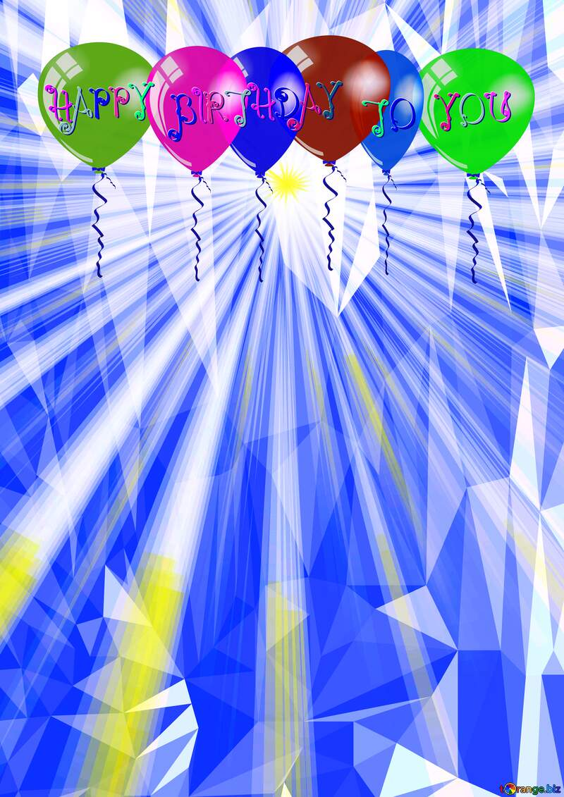 Rays of sunlight Polygonal abstract geometrical background with triangles Happy Birthday Card №49660