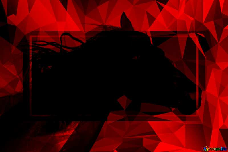 Black Horse portrait Polygonal abstract geometrical background with triangles Hot Red №36657