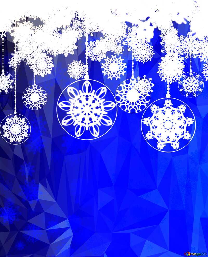 Clipart Christmas Polygonal abstract geometrical background with triangles xmas blue №40711