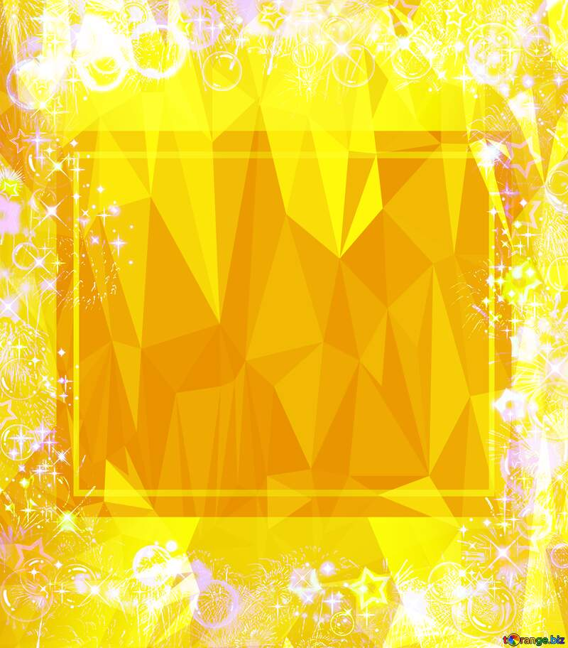 Frame multi-colored Polygonal abstract geometrical background with triangles Yellow Template №39964