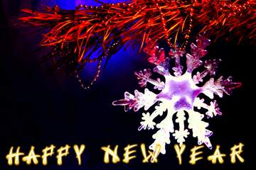 The effect of light. Very Vivid Colours. Card with text Happy New Year.