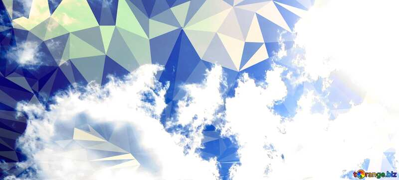 Sun and clouds Polygonal abstract geometrical background with triangles №31594
