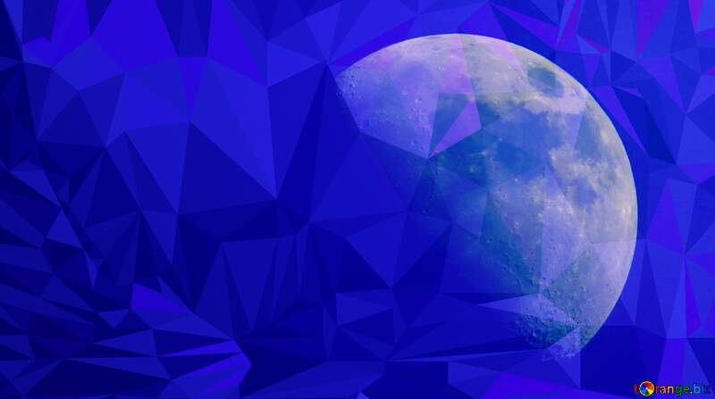 Half moon blue Polygonal abstract geometrical background with triangles №24534