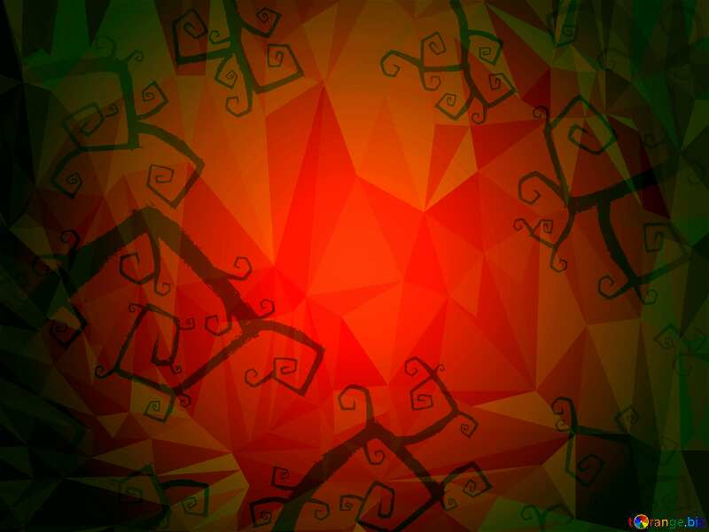 Halloween red Polygonal abstract geometrical background with triangles №40593