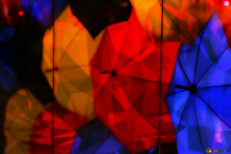colored umbrellas dark Polygonal abstract geometrical background with triangles №40971