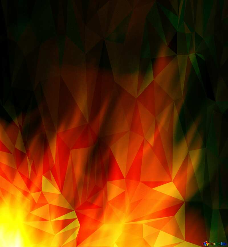 Fire flame Polygonal abstract geometrical background №9546