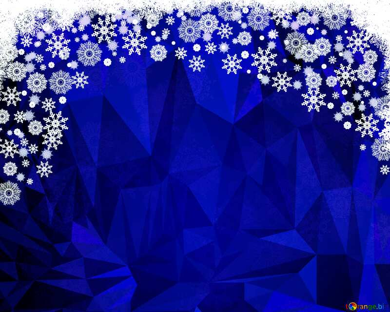 Blue Christmas snow frame Polygonal abstract geometrical background with triangles №40658