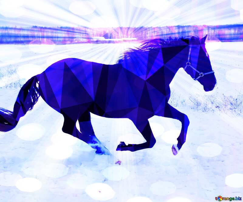 Blue Horse in the snow Polygonal abstract geometrical background with triangles №18191