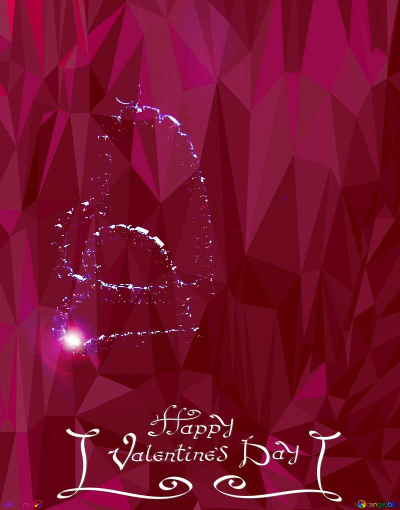 Greeting card for Valentines Day polygonal background №17495