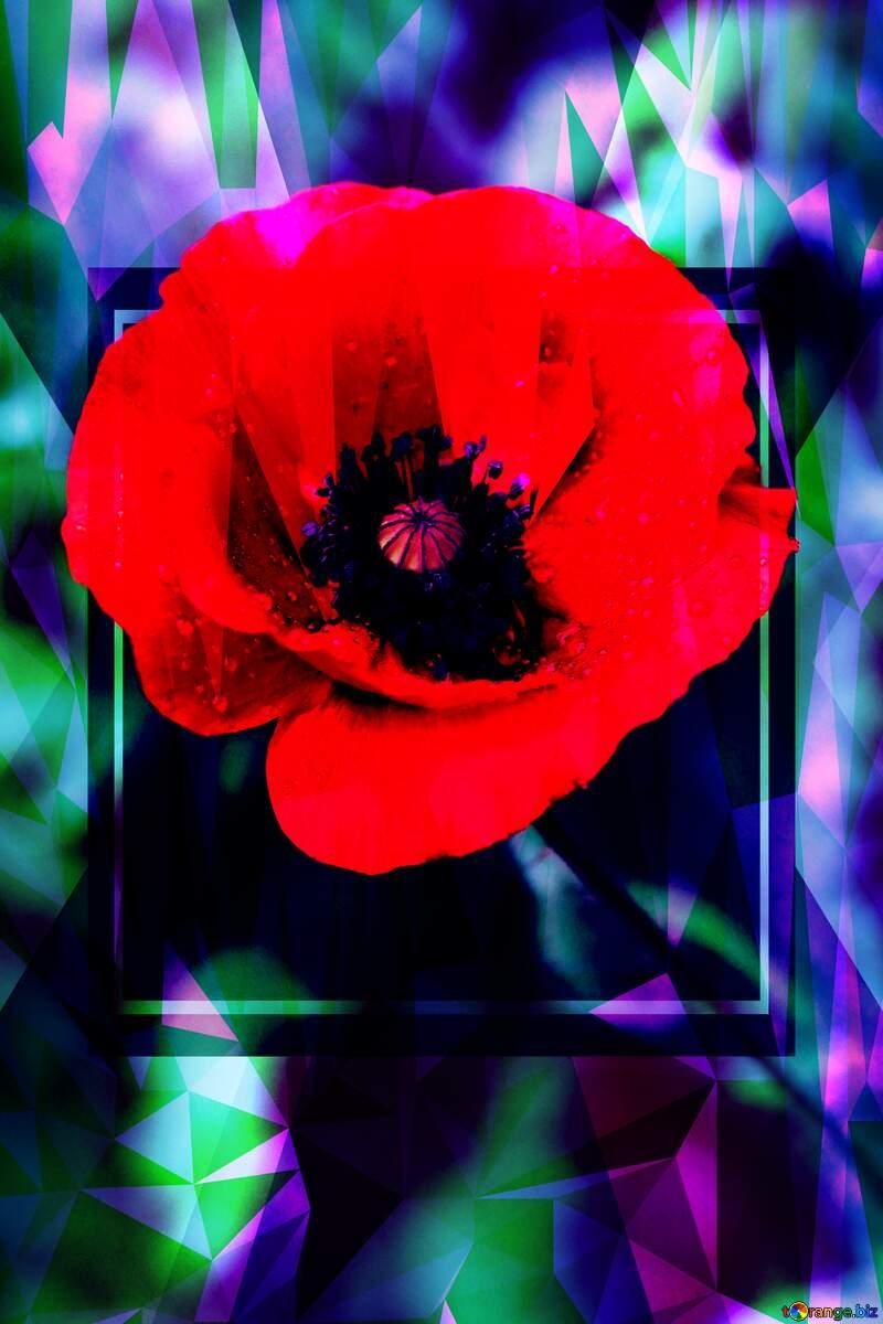 Poppy flower Polygon background №34264