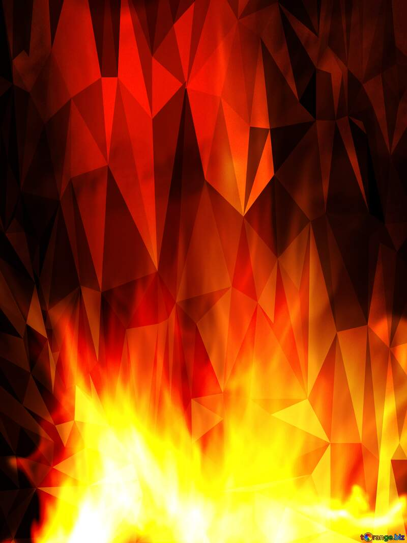 Fire Polygonal abstract geometrical background with triangles №9546
