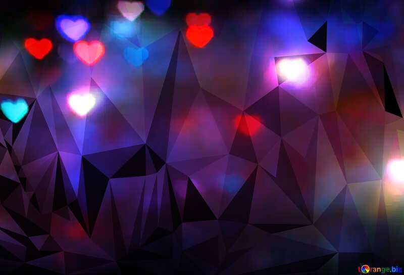 The lights in the shape of hearts night blue Polygonal abstract geometrical background with triangles №37858