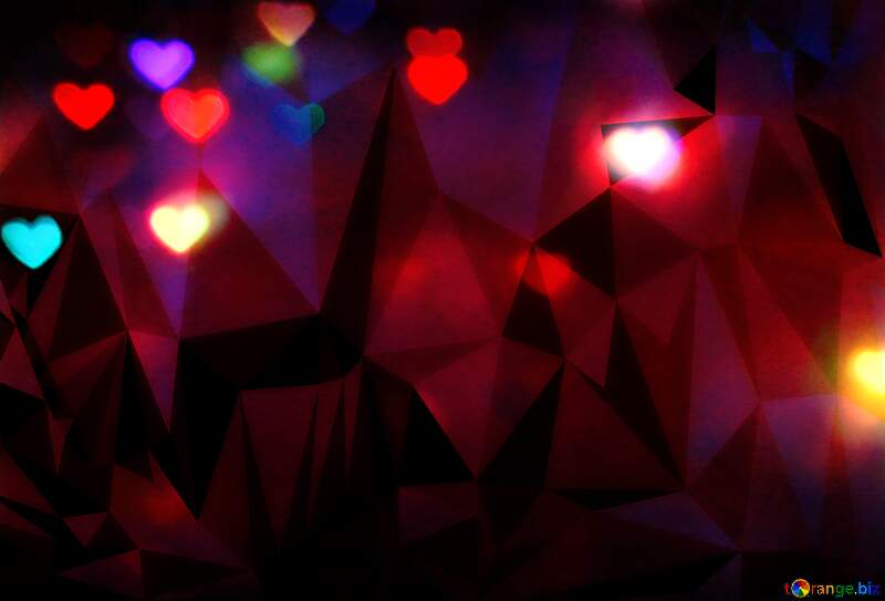 The lights in the shape of hearts dark Polygonal abstract geometrical background with triangles №37858