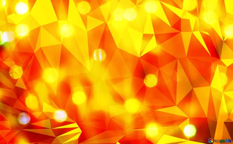 Lights bokeh orange Polygonal abstract geometrical background with triangles №24612