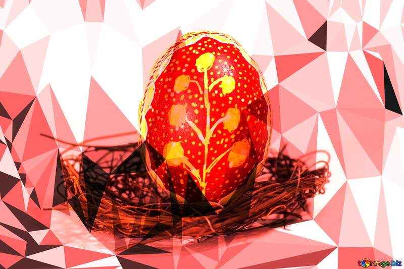easter egg Polygonal abstract geometrical background with triangles №50257